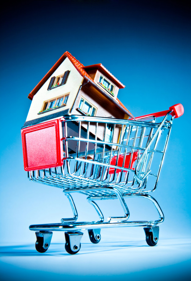 house shopping cart blue wall 19485 42768